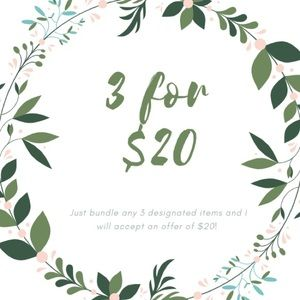 3/$20 SALE!! Bundle any 3 designated items for $20
